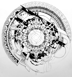 Compass Mandala, pencil and ink, 2016
